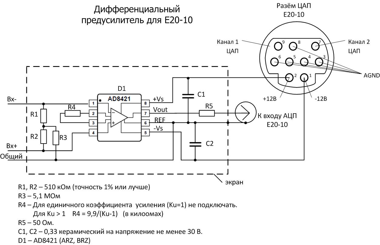 Дифференциальный предусилитель для E20-10