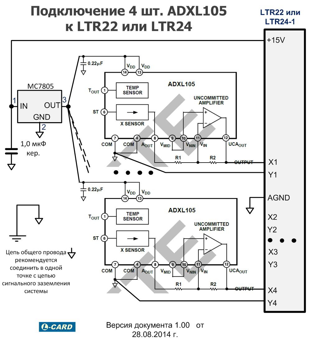 Подключение 4 шт. акселерометров ADXL105 к LTR22 или LTR24